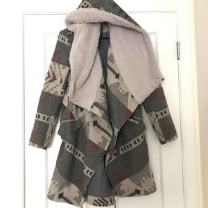 Ecote Aztec Asymmetrical Hooded Blanket Coat